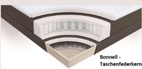 Boxspringbett Isabelle 180 x 200 cm Leder Optik braun Taschenfederkern Matratze inkl. Topper