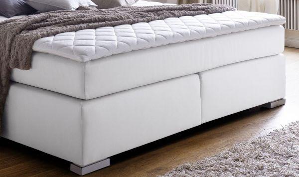 Boxspringbett Isabelle 160 x 200 cm Leder Optik weiß 7 Zonen Tonnentaschenfederkern Matratze