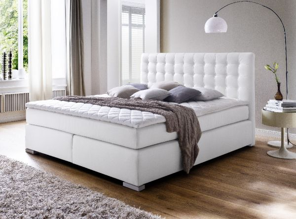 Boxspringbett Isabelle 160 x 200 cm Leder Optik weiß 7 Zonen Multi Tonnentaschenfederkern Matratze