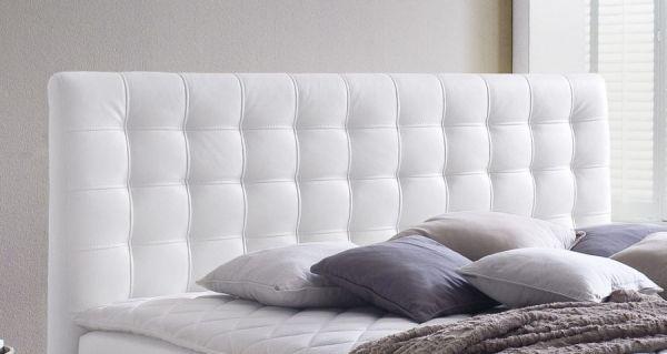 Boxspringbett Isabelle 180 x 200 cm Leder Optik weiß 7 Zonen Multi Tonnentaschenfederkern Matratze
