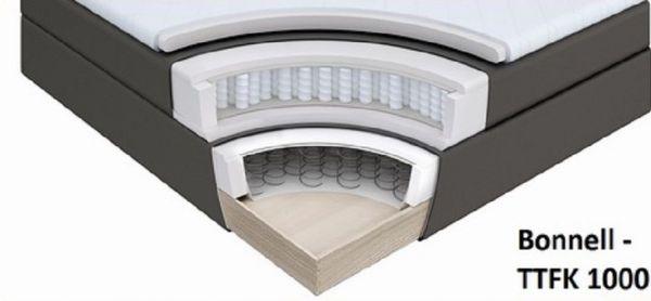 Boxspringbett Isabelle 180 x 200 cm Leder Optik braun 7 Zonen Multi Tonnentaschenfederkern Matratze