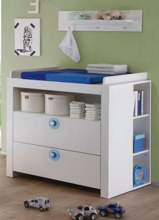 Babyzimmer Wickelkommode Olivia Set 3 tlg. mit 2 Regalen weiß mit blau 96 x 111 x 69 cm