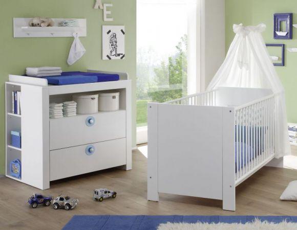 Babyzimmer Wickelkommode Olivia in weiß und blau Set 3 tlg. Wickeltisch mit Regal und Wandregal 96 cm