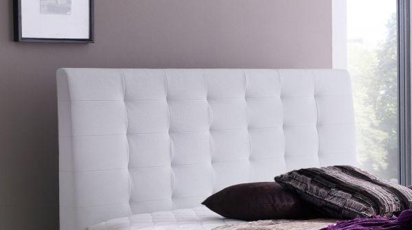 Boxspringbett Claudine 180 x 200 cm Leder Optik weiß 5-Gang-Bonell Federkern Matratze Hotelbett