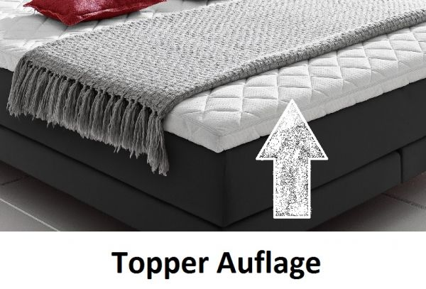 Boxspringbett Claudine 180 x 200 cm Leder Optik schwarz 5-Gang-Bonell Federkern Matratze Hotelbett