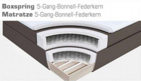 Boxspringbett Claudine 180 x 200 cm Leder Optik braun 5-Gang-Bonell Federkern Matratze Hotelbett