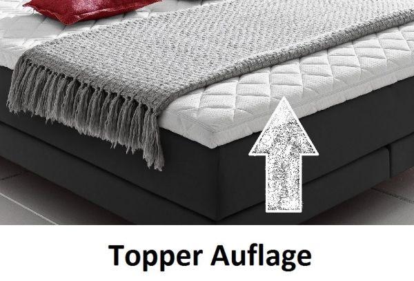 Boxspringbett Claudine 200 x 200 cm Leder Optik schwarz 5-Gang-Bonell Federkern Matratze Hotelbett