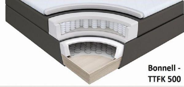 Boxspringbett Claudine 200 x 200 cm Leder Optik braun 7 Zonen Tonnentaschenfederkern Matratze