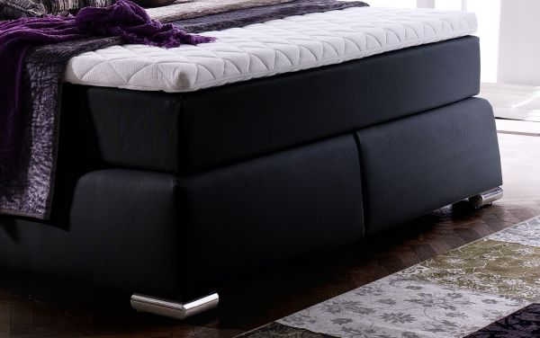 Boxspringbett Claudine 160 x 200 cm Leder Optik schwarz 7 Zonen Multi Tonnentaschenfederkern Matratze