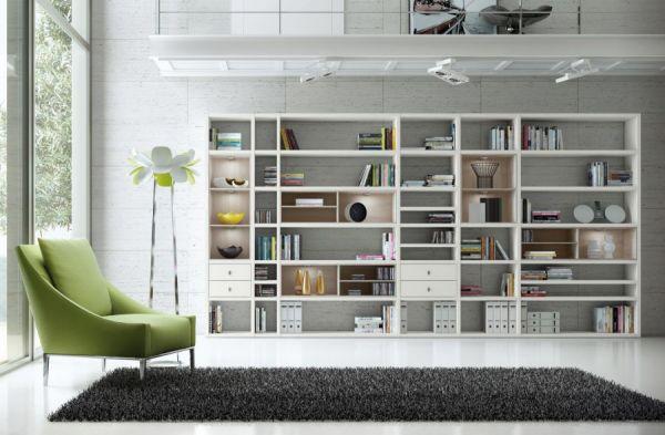 Wohnwand Bücherwand MDor Dekor Lack weiß matt Eiche Natur LED-Beleuchtung Breite 420 cm