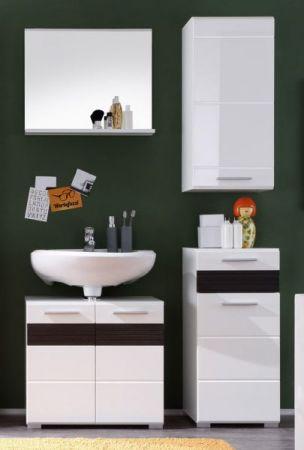 Badezimmer Unterschrank Kommode Mezzo weiß Hochglanz mit Eiche dunkel