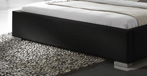 Einzelbett Polsterbett Altora Leder Optik schwarz 140 x 200 cm mit Komforthöhe Überlänge wahlweise
