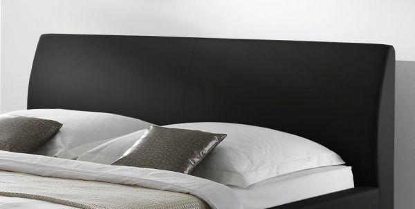 Doppelbett Polsterbett Altora Leder Optik schwarz 180 x 200 cm mit Komforthöhe Überlänge wahlweise