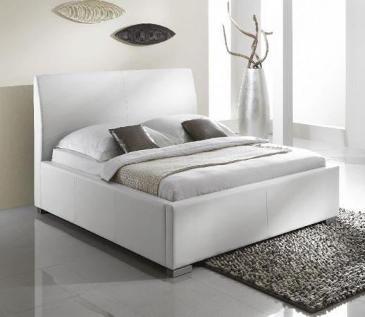 Einzelbett Polsterbett Altora Leder Optik weiß 100 x 200 cm mit Komforthöhe Überlänge wahlweise