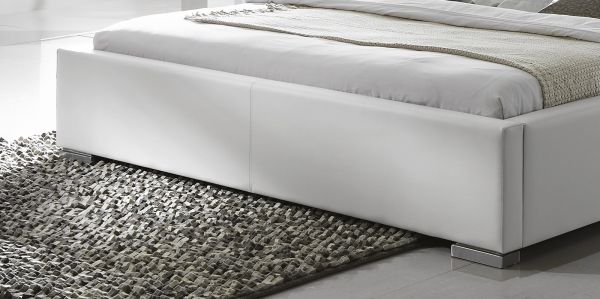 Doppelbett Polsterbett Altora Leder Optik weiß 140 x 200 cm mit Komforthöhe Überlänge wahlweise