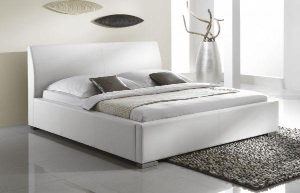 Einzelbett Polsterbett Altora Leder Optik weiß 160 x 200 cm mit Komforthöhe Überlänge wahlweise