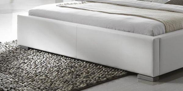 Doppelbett Polsterbett Altora Leder Optik weiß 200 x 200 cm mit Komforthöhe Überlänge wahlweise