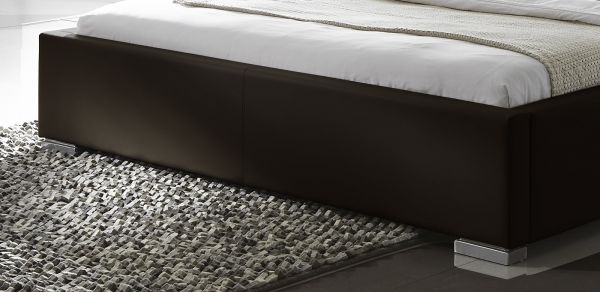 Doppelbett Polsterbett Altora Leder Optik braun 180 x 200 cm mit Komforthöhe Überlänge wahlweise