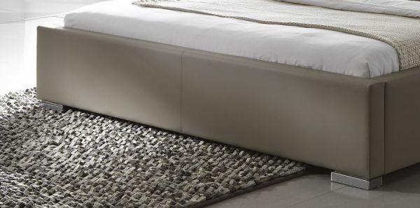 Einzelbett Polsterbett Altora Leder Optik braun 100 x 200 cm mit Komforthöhe Überlänge wahlweise