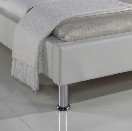 Doppelbett Polsterbett Ornella Leder Optik weiß 140 x 200 cm Kopfteil versch. Farben