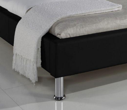 Einzelbett Polsterbett Ornella Leder Optik schwarz 100 x 200 cm Kopfteil versch. Farben