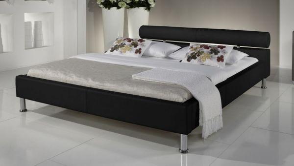 Doppelbett Polsterbett Ornella Leder Optik schwarz 140 x 200 cm Kopfteil versch. Farben