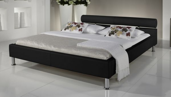 Doppelbett Polsterbett Ornella Leder Optik schwarz 160 x 200 cm Kopfteil versch. Farben