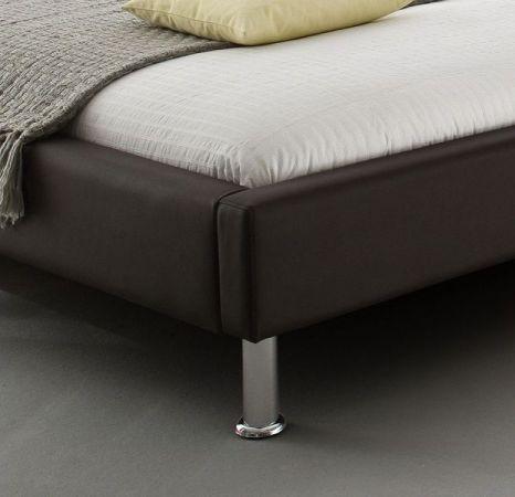 Doppelbett Polsterbett Ornella Leder Optik braun 140 x 200 cm Kopfteil versch. Farben