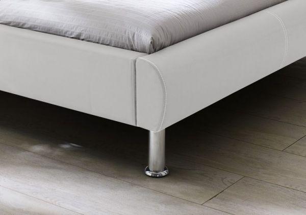 Einzelbett Polsterbett Randy Leder Optik weiß 100 x 200 cm
