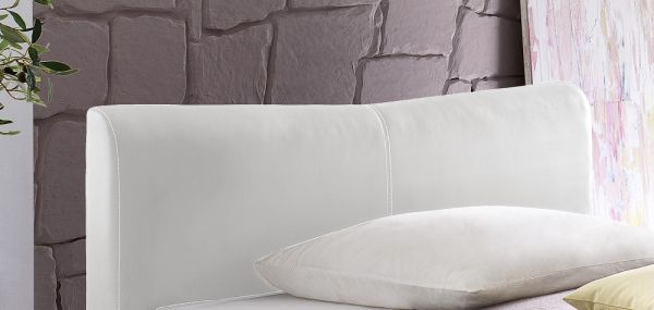 Einzelbett Polsterbett Randy Leder Optik weiß 120 x 200 cm