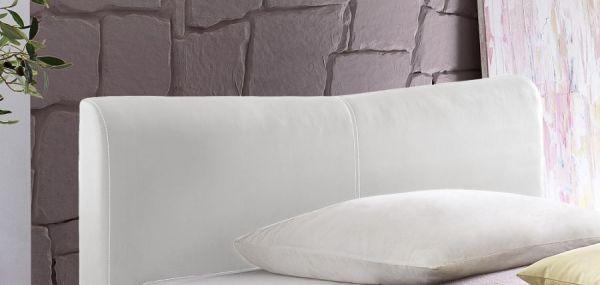 Einzelbett Polsterbett Randy Leder Optik weiß 140 x 200 cm