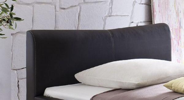 Einzelbett Polsterbett Randy Leder Optik schwarz Nähte weiß 120 x 200 cm