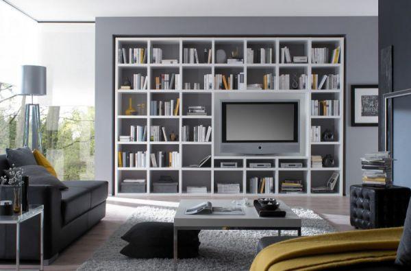 Wohnwand Bücherwand MDor Dekor Lack weiß Hochglanz schwarz LED-Beleuchtung Breite 385 cm