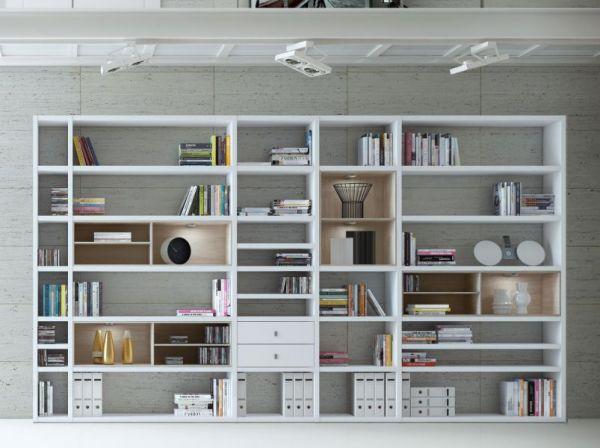 Wohnwand Bücherwand MDor Dekor Lack weiß Hochglanz LED-Beleuchtung Breite 385 cm