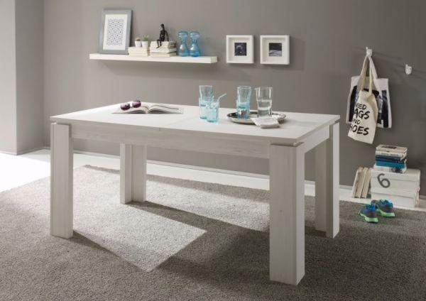 Esstisch Ausziehtisch Pinie weiß Struktur 160 cm ausziehbar auf 200 cm Holztisch mit Einlegeplatte