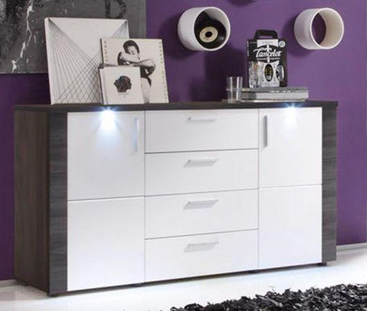 Sideboard Kommode Xpress Esche grau weiß 150 x 82 cm inkl. LED Beleuchtung