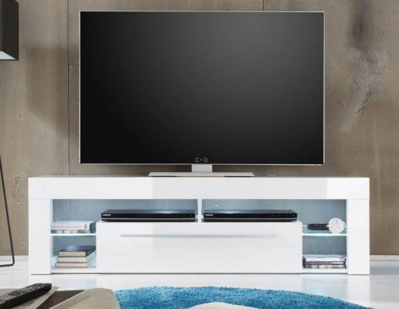 TV-Lowboard Fernsehtisch COUNT weiß Hochglanz 153 x 44 cm
