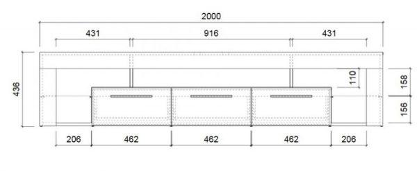 """Wohnzimmer: TV-Lowboard """"COUNT"""" Hochglanz weiß (200 x 44 cm)"""