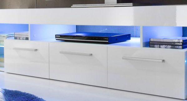 Lowboard TV Hifi Unterteil Score weiß Hochglanz 200 x 44  cm LED RGB Beleuchtung