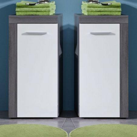 Badezimmer Kommode Unterschrank Miami in weiß und Sardegna Rauchsilber grau 36 x 81 cm