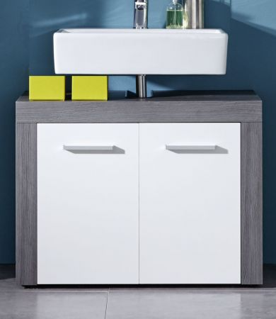 """Waschbeckenunterschrank """"Miami"""" weiß, Sardegna grau (72 x 56 cm)"""