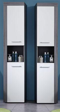 """Badezimmer: Hochschrank """"Miami"""" weiß, rauchsilber (36x184 cm)"""