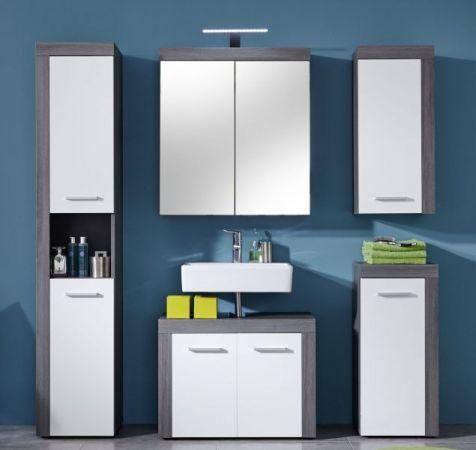 Badschrank Hängeschrank in weiß und Sardegna Rauchsilber grau 36 x 79 cm Badmöbel Miami