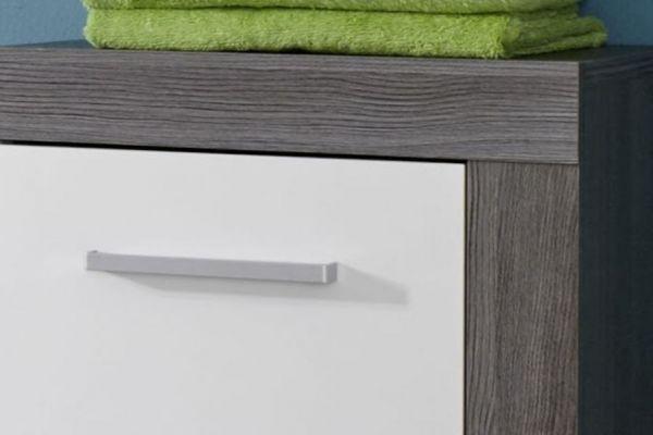 Badmöbel Set Miami Badezimmer Sardegna Rauchsilber grau mit weiß 5-teilig