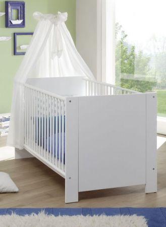 Babyzimmer Babybett Olivia Gitterbett mit Schlupfsprossen und Lattenrost weiß