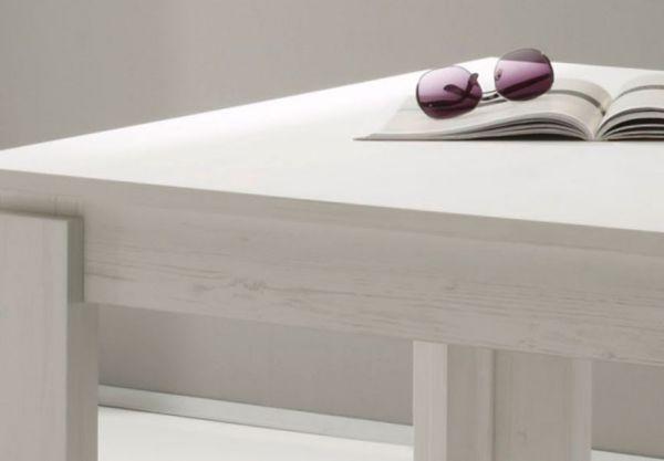 Esstisch Ausziehtisch Pinie weiß 160 cm ausziehbar auf 200 cm Küchentisch mit Einlegeplatte Georgia Toronto