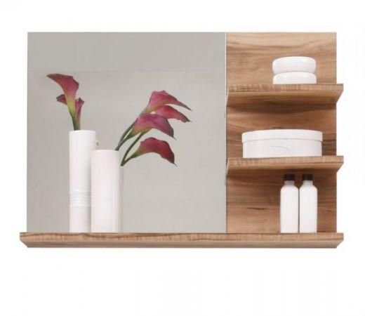 Badezimmer Spiegel Cancun in Nussbaum Satin Badmöbel 72 x 57 cm Badspiegel mit Ablage
