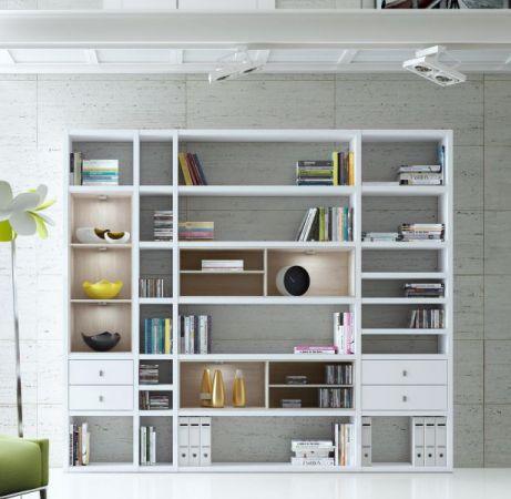 Wohnwand Bücherwand Lack weiß Hochglanz Eiche Natur inkl. LED-Beleuchtung 252 cm - Sofort lieferbar -