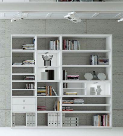 Wohnwand Bücherwand MDor Dekor Lack weiß Hochglanz schwarz LED-Beleuchtung Breite 241 cm