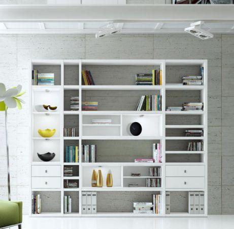 Wohnwand Bücherwand MDor Dekor Lack weiß Hochglanz schwarz LED-Beleuchtung Breite 252 cm